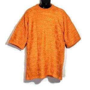 Coogi Sweater Orange Short Sleeve Sz 2XL